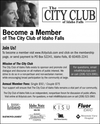 Become A Member, The City Club Of Idaho Falls