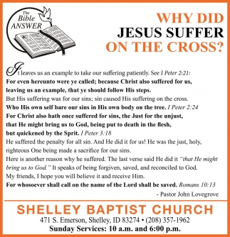 Why Did Jesus Suffer on the Cross?