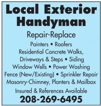 Repair, replace, Painters, Roofers, Concrete Walks, Driveways, Siding, Fence