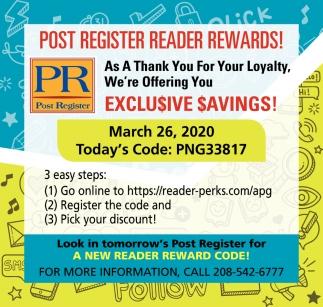Post Register Reader Rewards!