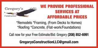 Remodels, Framing, Roofing, Concrete