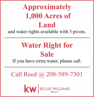 1,000 Acres of Land | Water Right for Sale