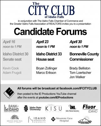 Candidate Forums, The City Club Of Idaho Falls, Idaho
