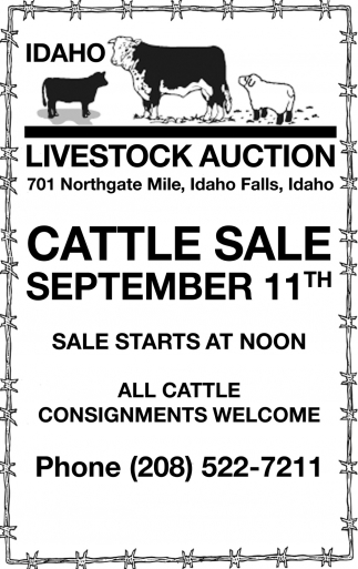 Cattle Sale September 11th