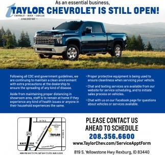 Still Open Taylor Chevrolet Buick Cadillac Rexburg Id