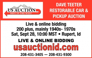 Dave Teeter Restorable Car & Pickup Auction