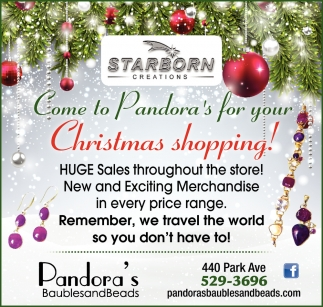 Come to Pandora's for your Christmas Shopping!