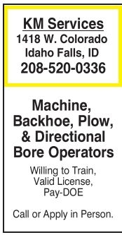 Machine, Backhoe, Plow, Directional Bore Operators