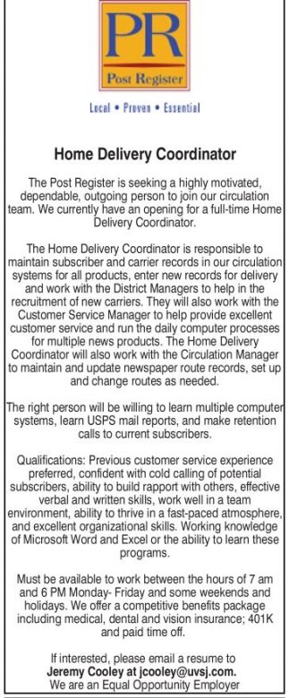 Home Delivery Coordinator