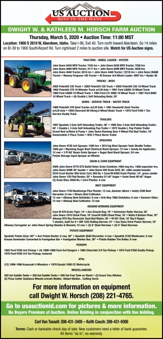 Dwight W. & Kathleen M. Horsch Farm Auction